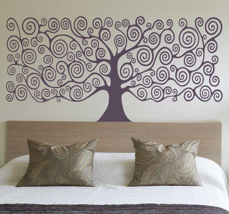 TenVinilo. Vinilo decorativo árbol de la vida. Vinilos cabecero de cama con una representación abstracta de un árbol con ramas ondulantes.