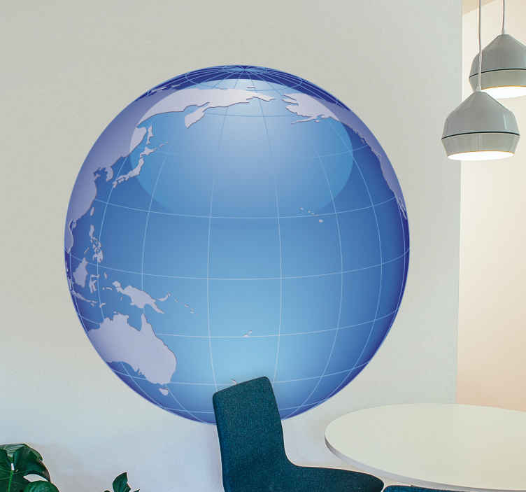 TenStickers. Globus Wandtattoo Pazifik. Wandtattoo eines Globus. Auf der Weltkarte sehen Sie vor allem den Pazifik. Dekorationsidee für das Wohnzimmer und Schlafzimmer.