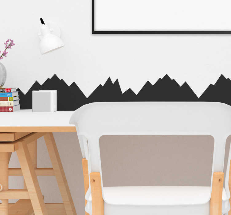 TenStickers. Mountain relief  border sticker. Silhouette mountain relief wall border sticker for home decoration. This beautiful design is available in any size you want.