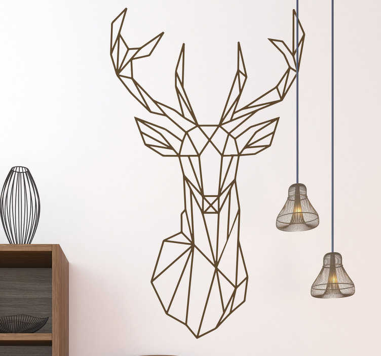 TenStickers. Geometric Stag Wall Sticker. Geometric wall sticker of a magnificent stag head to create a powerful atmosphere in your bedroom, living room and more!