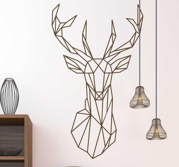 TenVinilo. Vinilo origami ciervo. Adhesivos pared con una representación simplificada y abstracta de la cabeza de un ciervo, fabricado en vinilo de corte de acabado mate.
