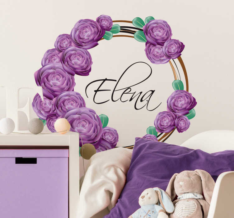 TenStickers. Violet flowers customizable  flower wall sticker. Customizable name flower wall art decal to decorate any space of choice. Buy the design with the name you want on it. Easy to apply.