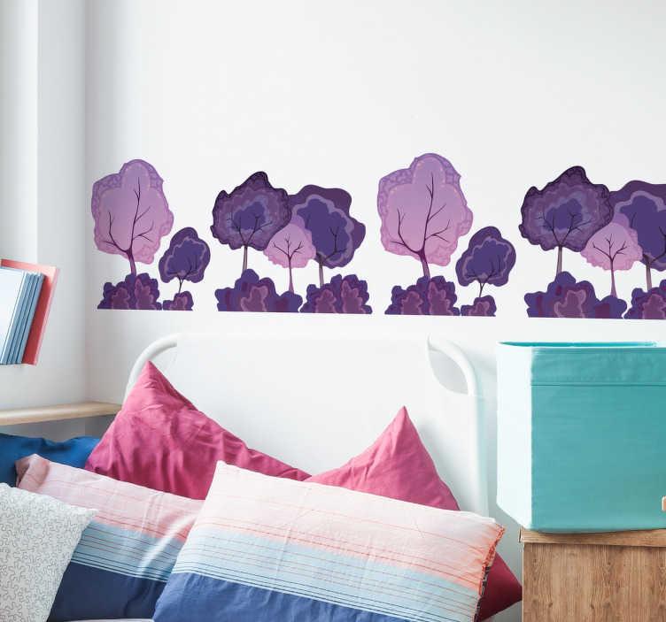 TenVinilo. Cenefa adhesiva bosque violeta. Cenefas juveniles pared con el dibujo de una arboleda en tonos lilas y violetas, ideal para darle un toque vivo y natural a la estancia de tus hijos.