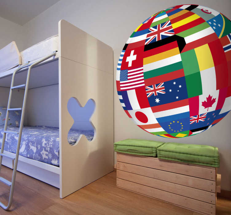 TenStickers. World Flags World Sticker. Wall Stickers - Illustration of the globe composed of various flags of countries around the world. High quality stickers