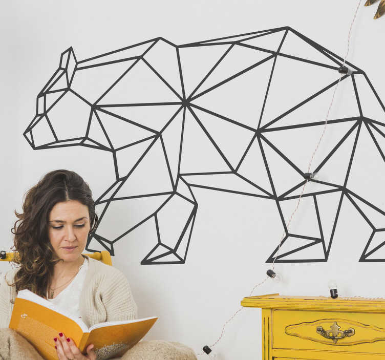 TENSTICKERS. 折り紙のクマの壁のステッカー. 折り紙効果を持つ現代的で創造的な壁のステッカーは、あなたのリビングルーム、あなたの寝室、またはオリエンタルウォールステッカーを持つ他の滑らかな表面を飾る歩行を示しています。
