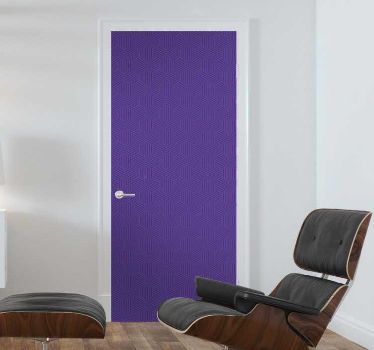 TenVinilo. Lámina adhesiva violeta para puerta. Vinilos para puertas basados en el color Pantone del año 2018, el Ultra Violet, con una elegante textura geométrica.