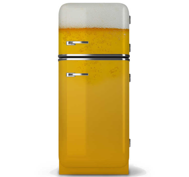 TenStickers. Refrigerator fridge wrap. Beer fridge door vinyl sticker to decorate in style It is a design created with a textural appearance of a beer with bubbles. It is easy to apply.