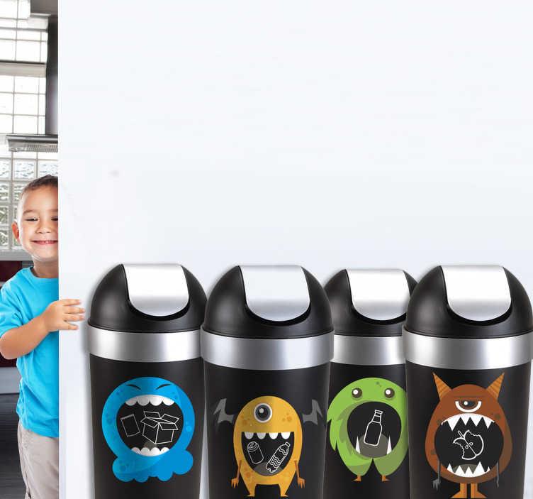 TenStickers. Sticker Recyclage Monstres. Stickers pictogramme représentant de petits monstres en train de manger des déchets, aux couleurs des différentes matières à recycler. Un sticker recyclage coloré qui pourra aider vos enfants à mieux trier leurs déchets et ainsi devenir de futur citoyens responsables avec l'environnement!