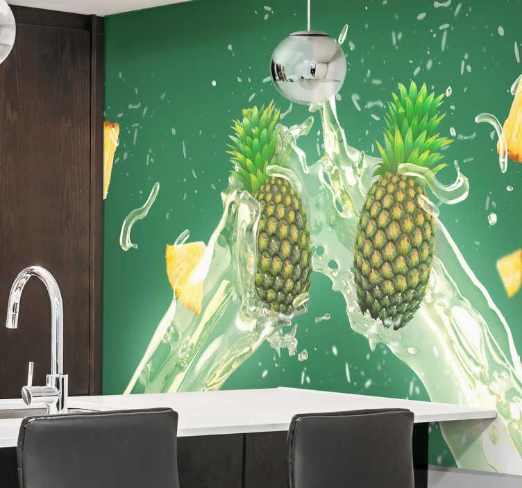TenVinilo. Vinilos de Frutas para Cocinas. Vinilo fotomural con una refrescante imagen de dos piñas, ideal para decorar tu cocina o comedor con una fotografía de tu fruta favorita.