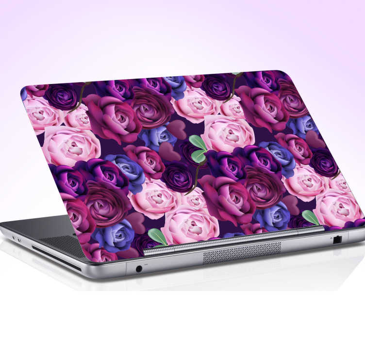 TenStickers. Laptop sticker rozen paars. Met deze laptop sticker is je hele inventaris in stijl! Deze laptop sticker bestaat uit een volle bos rozen in paarse en roze tinten.