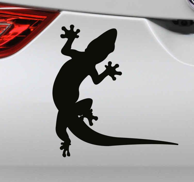 TenStickers. Adesivo para carro lagarto. Decore o seu veículo com esteautocolante para carrocom uma imagem de uma silhueta de um lagartinho para preencher um pouco o seu veículo.