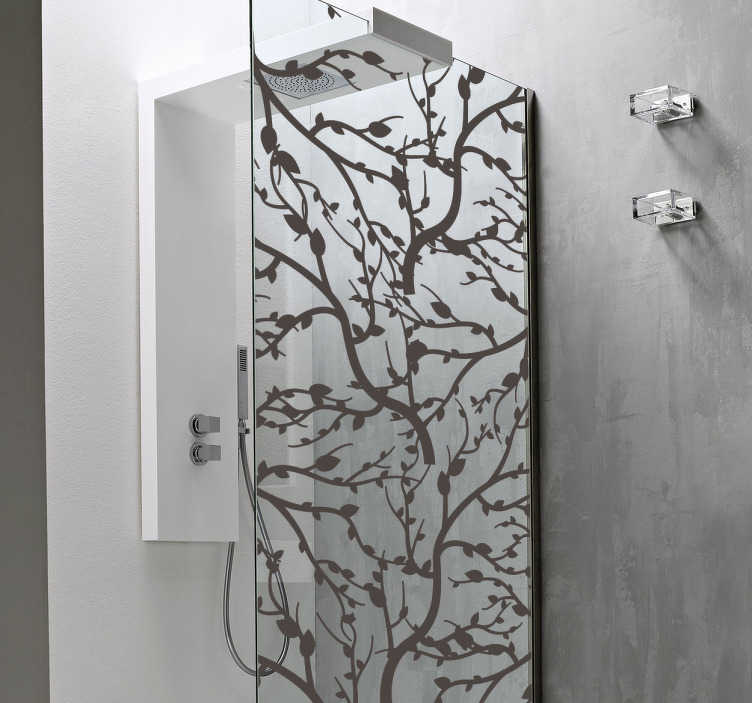TenStickers. Douchewand stickers Boomtakken. Boomtakken douchescherm zelfklevende sticker om de deur van een doucheruimte te versieren. Het is verkrijgbaar in verschillende kleuren en aanpasbaar in grootte.