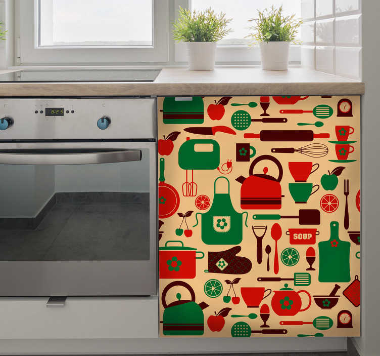 TenStickers. Cutlery kitchen cabinet furniture decal. Decorative kitchen cabinet furniture decal made with design prints of cutlery and cooking utensils on colorful background.