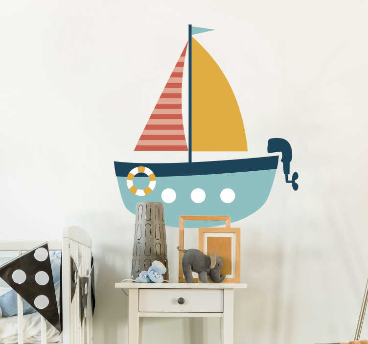 TenStickers. Dinghy Boat Kids Sticker. Kids Wall Stickers - Sketch illustration of a dinghy boat with an engine. Ideal for decorating bedrooms and areas for kids.
