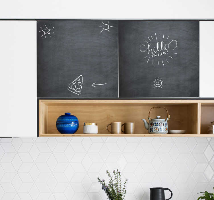 TenStickers. blackboard kitchen cabinet furniture decal. Blackboard kitchen cabinet furniture decal for home use. It can be cleaned wend rewritten on with chalk. Easy to apply and available in any size.