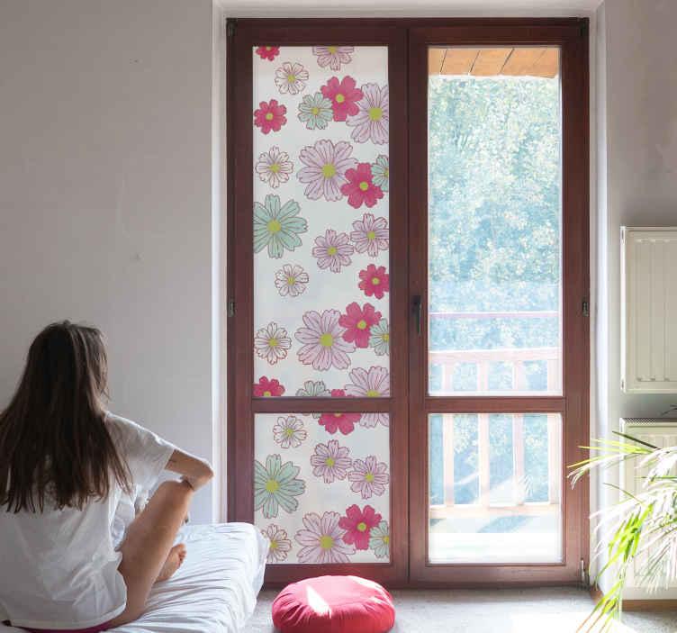 TenStickers. Autocolante para vidro translúcido. Decore as janelas da sua casa com este adesivo para vidro translúcido e colorido, com bastantas flores vermelhas, azuis e rosas.
