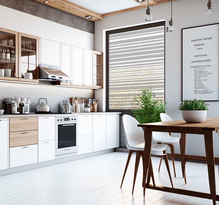 TenVinilo. Vinilo para ventana cocina líneas translucidas. Vinilo para cristaleras, ideales para cualquier estancia de tu casa, especialmente para tu cocina.