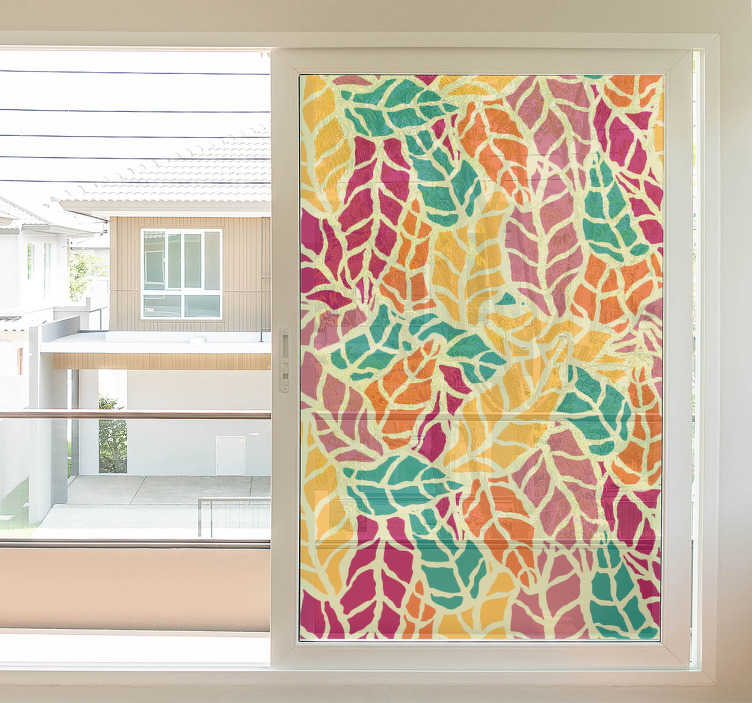 TenVinilo. Vinilo translúcido para ventana ornamental. Vinilos para ventanas con un colorido diseño de textura de hojas, disponible el tamaño que desees y muy fácil de instalar.