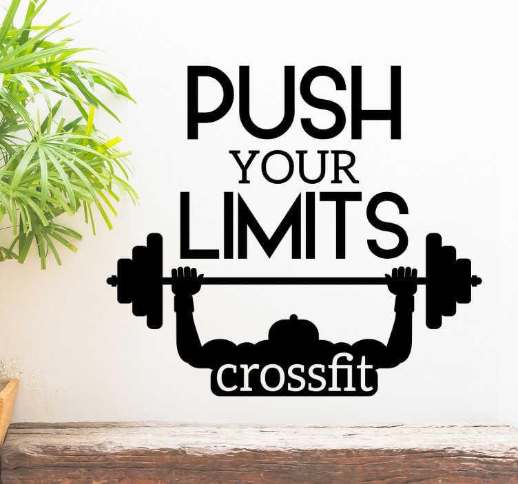 """Tenstickers. Sisustusteksti Push your limits. Sisustusteksti Push your limits. Sisustustarra, jossa on teksti """"Push your limits"""" ja """"crossfit"""" ja henkilö nostamassa painoja."""