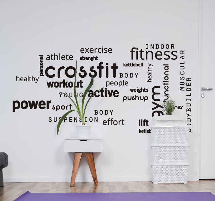 TenStickers. Tekst stickers Crossfit gym woorden. Cross fit gym woorden tekst muursticker voor fitnessliefhebber. Een inspirerende decoratie voor fitness. Het is verkrijgbaar in verschillende kleuren opties.