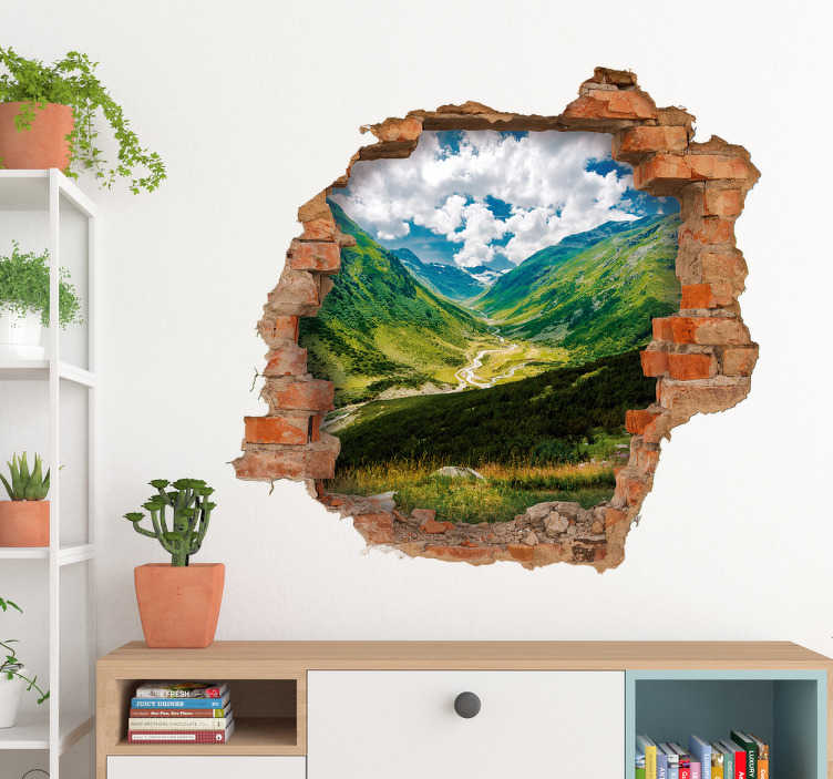 TenStickers. Trinket mountain  visual effects wall decal. Decorative trinket mountain visual effect wall sticker with an ambiance and view of nature. It is easy to apply and available in any size needed.