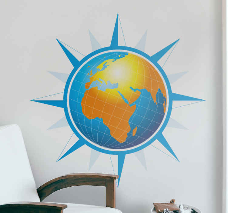 TenStickers. World Map Wind Rose Sticker. A creative wall decal of the world map with a touch of a wind rose. A great sticker to decorate your room if you love flowers.