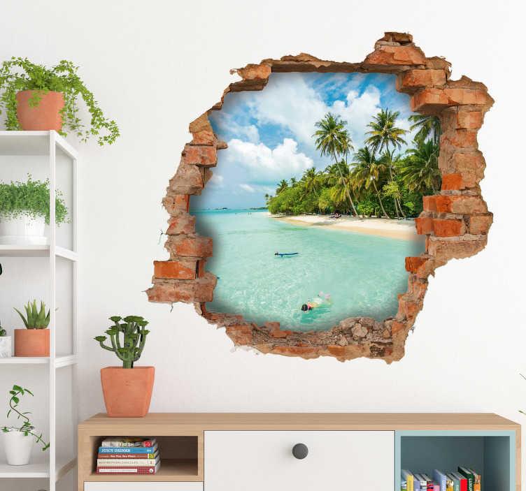 TenVinilo. Vinilo Trampantojo vistas al mar. Vinilos 3d paisajes con la simulación de un agujero en la pared con vistas a una paradisíaca isla tropical de aguas cristalinas.