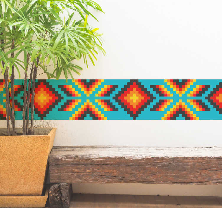 TenStickers. Huichol Mexican art border sticker. Huichol Mexican art wall border decal for home decoration. It is made of colorful geometric abstract design and it application is easy.