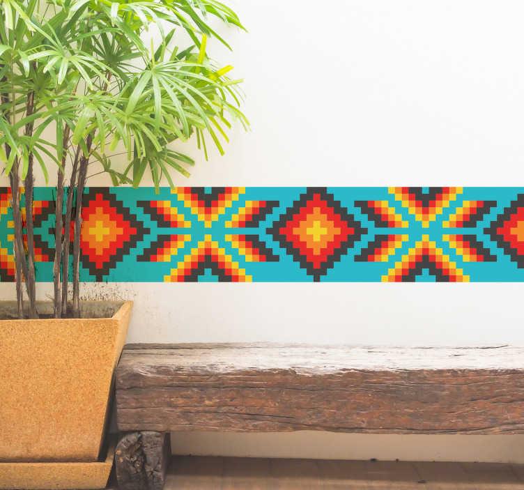 TenStickers. Mexicaanse sierrand sticker. Desticker bestaat uit een vrolijk patroon met blauw, rode, gele en zwarte kleuren die je aan Mexico doen denken. Krijg het exotische gevoel.