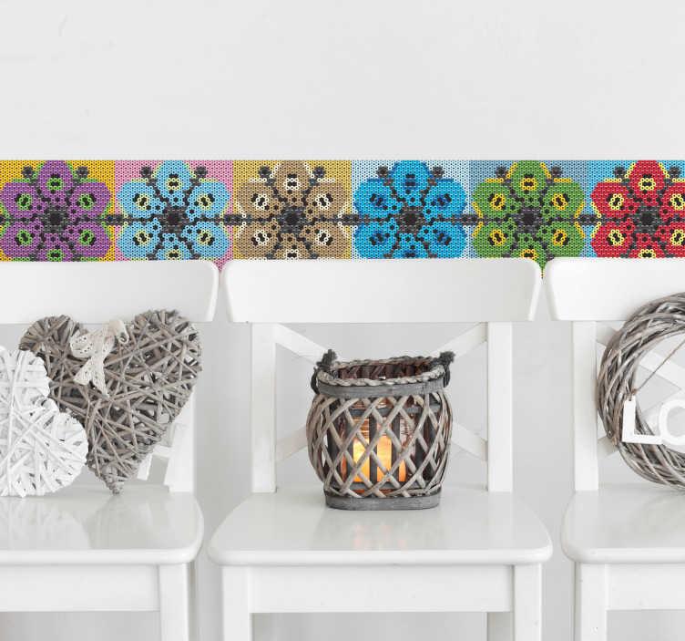 TenVinilo. Vinilo decorativo mandala huichol. Cenefa adhesiva de vivos colores, con motivos basados en la cultura Huichol de México, ideales para personalizar la decoración de cualquier estancia.