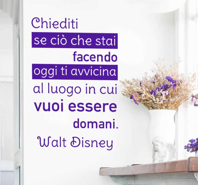 TenStickers. Scritta adesiva murale aforisma obiettivi Disney. Adesivo decorativo con frase sognante e motivazionale Disney per arredare la tua stanza