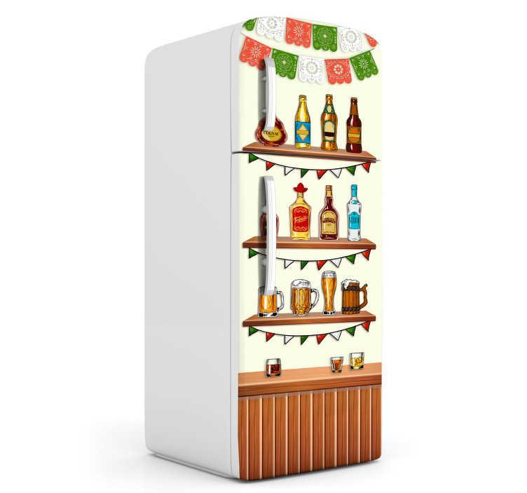 TenVinilo. Vinil decorativo tequila. Vinil para heladera con un dibujo de una cantina, con una barra de madera y estanterías con licores en las mismas.