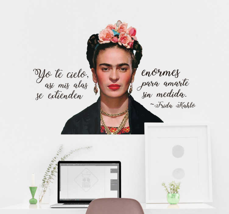TenVinilo. Vinil Frida Kahlo frase célebre. Vinil decorativo de tu artista favorita, ideal para decorar cualquier recámara de casa, ya sea el despacho, tu salón o el dormitorio.
