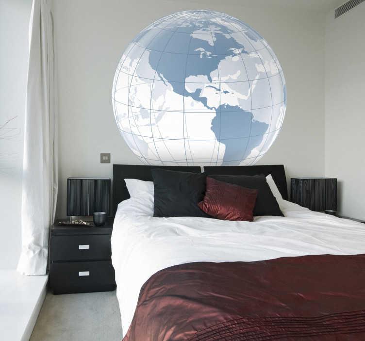 TenStickers. Wandtattoo transpanter Globus und Amerika. Wandtatto für das SchlafzimmerAuf der Weltkarte sehen Sie Amerika und im Hintergrund sehr transparent den Rest der Welt.