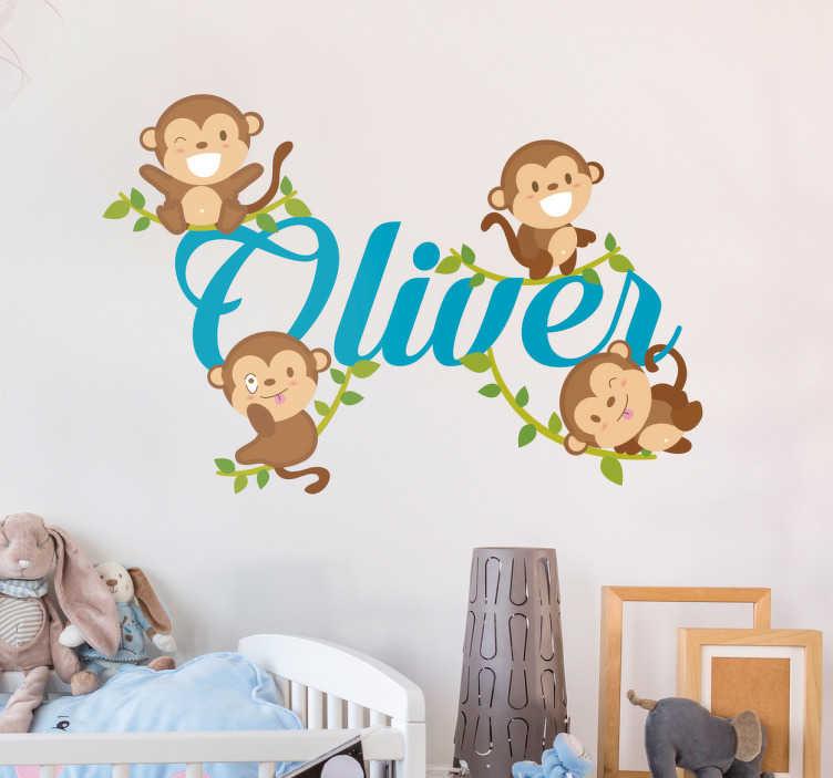 Tenstickers. Personoitu neljä apinaa sisustustarra. Personoitu neljä apinaa sisustustarra. Hauska nimitarra lastenhuoneeseen, jossa on neljä apinaa ja oma nimesi keskellä.