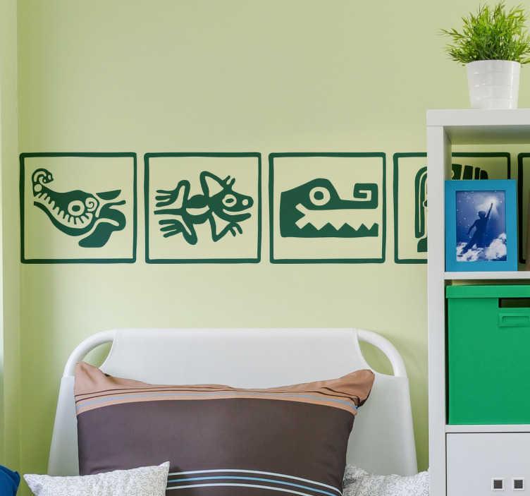 TenVinilo. Vinil infantil tribu maya. Cenefa adhesiva con una serie de dibujos mayas característicos que representan animales como la rana, el cocodrilo además de dioses clásicos.
