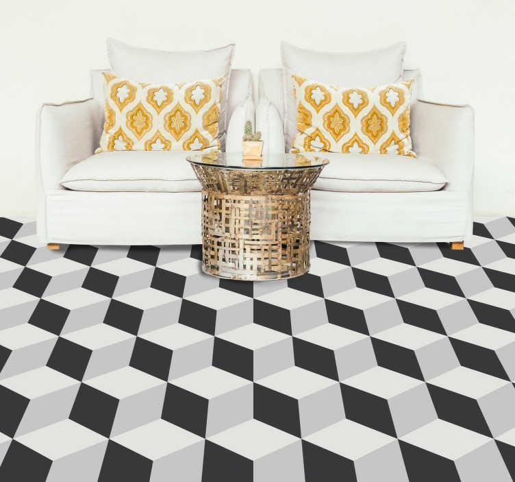 TenStickers. Vinil autocolante pisos 3-D. Traga a magia do 3-D para o chão da sua casa com este magnífico vinil autocolante, com padrão de cubos de cor preta e branca.