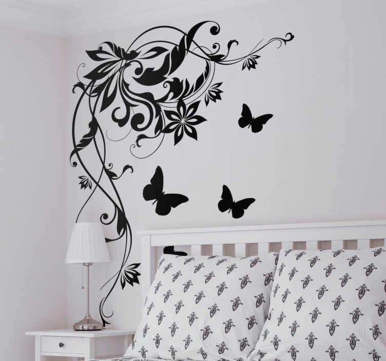 TenStickers. Naklejka na ścianę kwiatowy wzór z motylkami. Elegancka naklejka, przedstawiająca kwiatowy wzór z motylkami. Idealna do ozdoby rogu ściany sypialni lub salonu!
