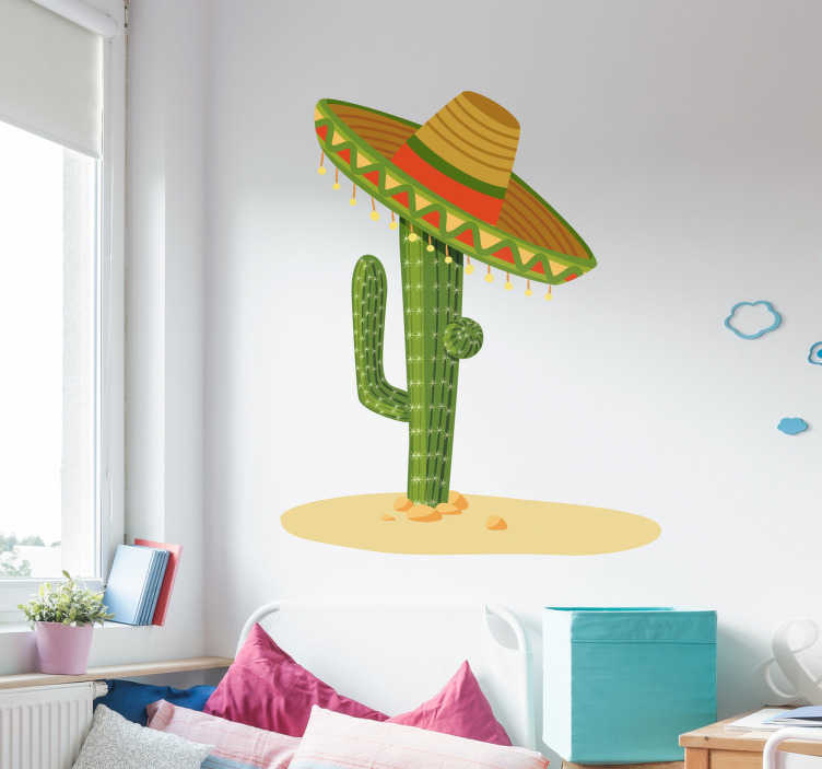 TenStickers. Mexican hat illustration wall art stikcer. Cactus plant with Mexican hat illustration sticker for home decoration. It comes in different size options and it application is easy.