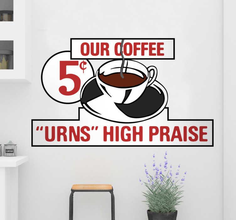 """TenStickers. Naklejka na ścianę Powrót do przyszłości. Naklejka ścienna dla miłośników kawy i filmu """"Powrót do przyszłości"""" z lat osiemdziesiątych. Naklejka przedstawia sławny znak z kawiarni w której główny bohater poznaje swojego ojca... w przeszłości!"""