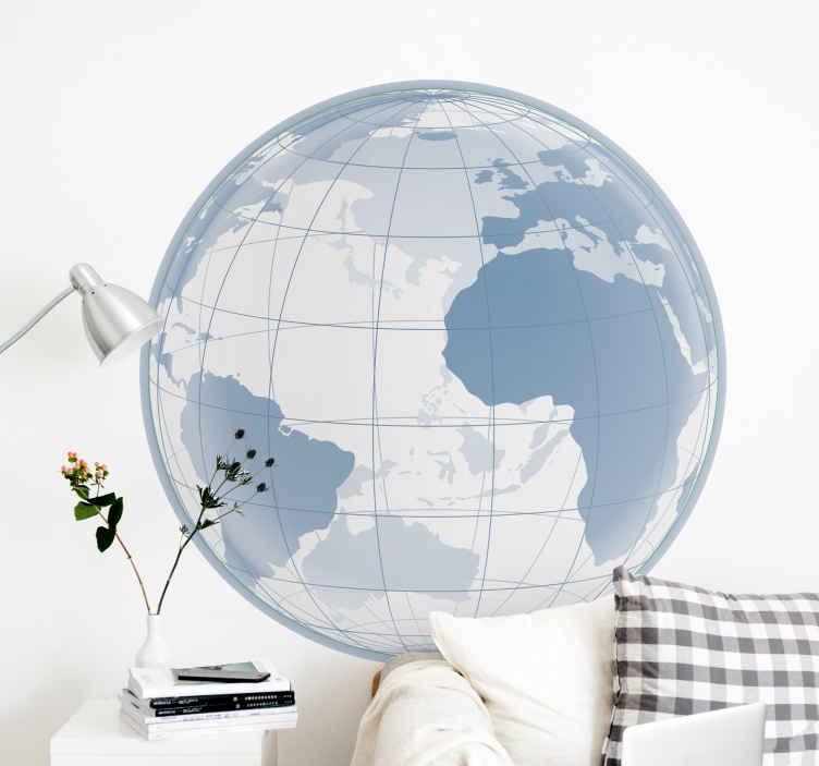 TenStickers. Autocolantes sala de reuniões Atlântico transparente. Autocolante decorativo com desenho do globo terrestre em tons de cizento e branco ideal para decorar o quarto de dormir ou a sala de estar.