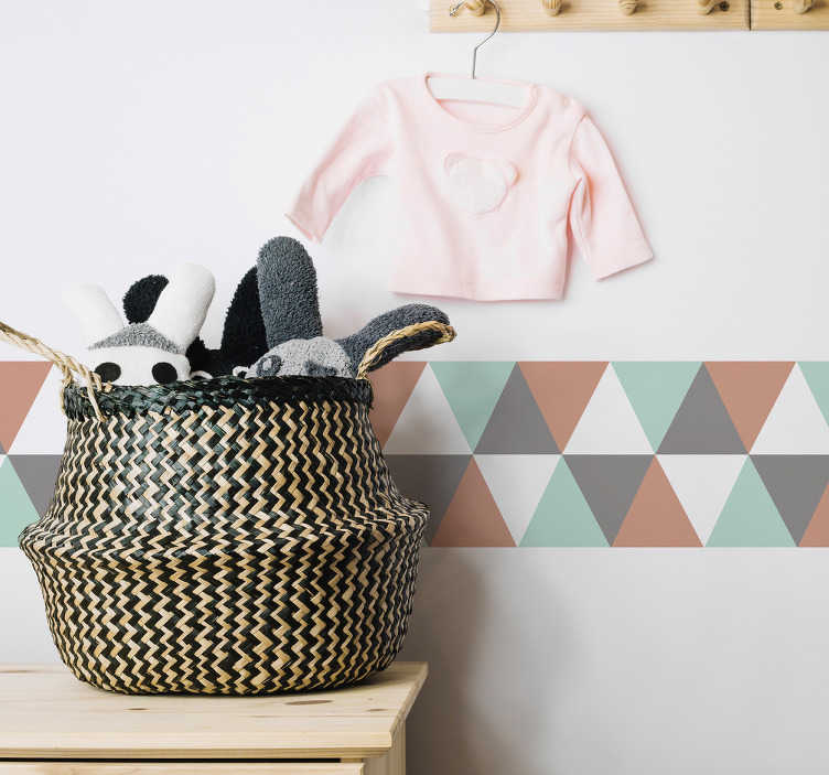 TenVinilo. Vinilo cenefa adhesiva triángulos. Cenefas infantiles en tonos pastel y diseño actual, perfectas para ambientar y darle un toque confortable y amable.