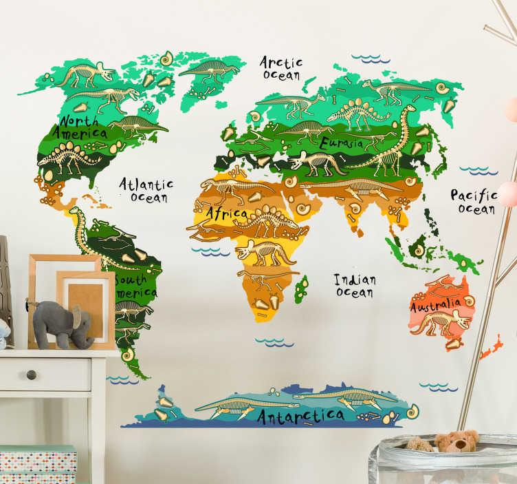 TenStickers. Adesivo mapa mundo infantil de dinossauros. Deixe os seus filhos disfrutarem desteadesivo mapa mundi infantilcom imagens dos primeiros animais a habitar a terra, os dinossauros.