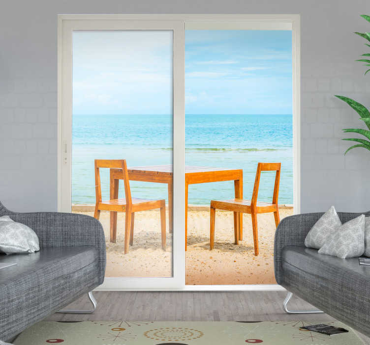TenVinilo. Vinilo Trampantojo terraza. Crea la sensación de que tu comedor o salón tienen unas privilegiadas vistas a una playa paradisíaca con murales y vinilos originales.