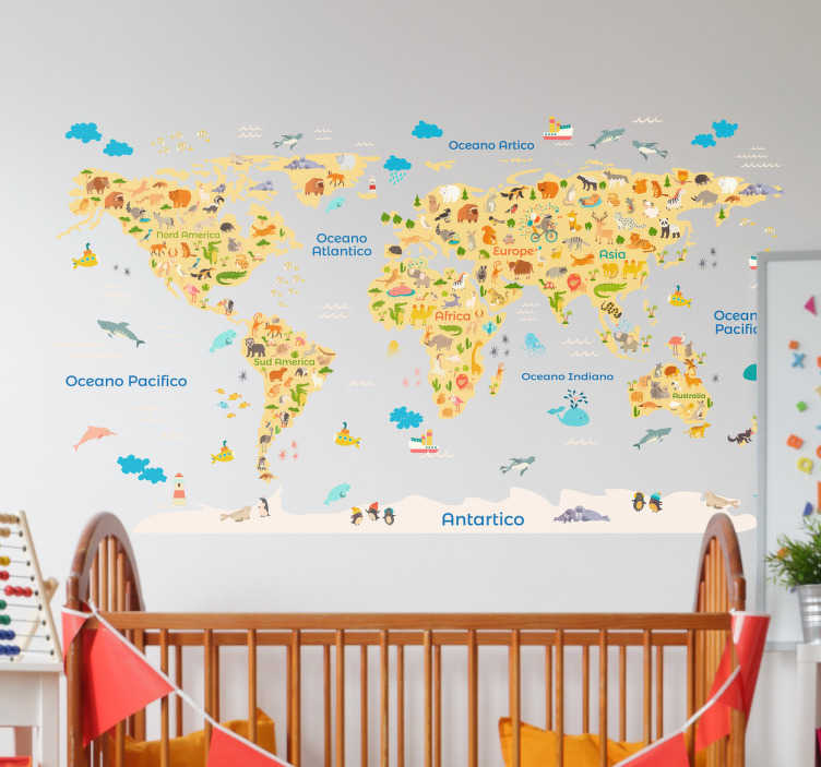 TENSTICKERS. 動物相世界地図ステッカー. 子供たちの寝室のスペースを飾るために装飾的な動物の世界地図の壁のステッカー。さまざまなサイズで利用でき、カスタマイズ可能です。