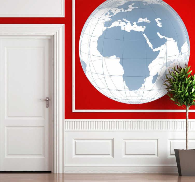 TenStickers. Wandtattoo transparente Weltkarte Europa Afrika. Wandtattoo einer Weltkarte mit Afrika und Europa im Fokus. Wasser ist weiß, die Landpartien nur eine dunkelgraue Silhoulette.