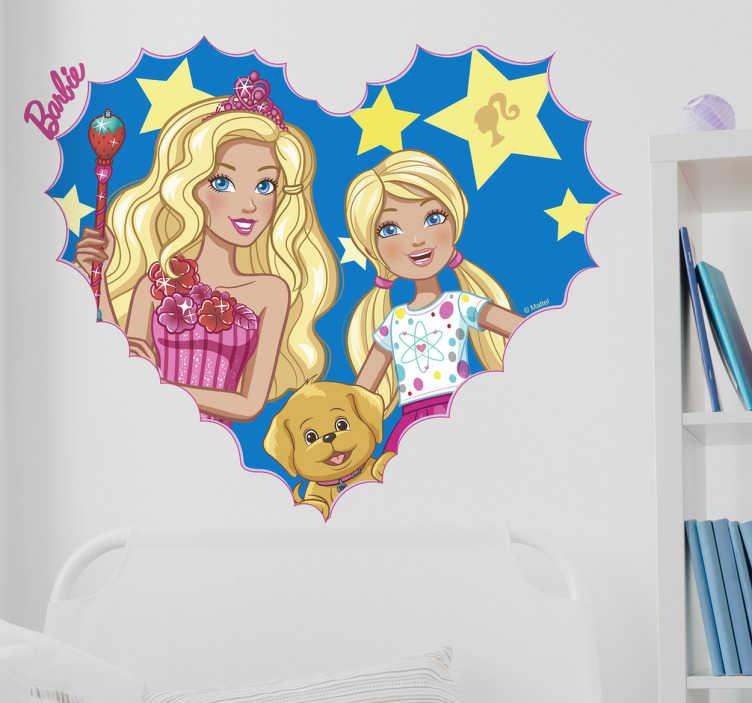Adesivo de parede Barbie com Chelsea e Mel