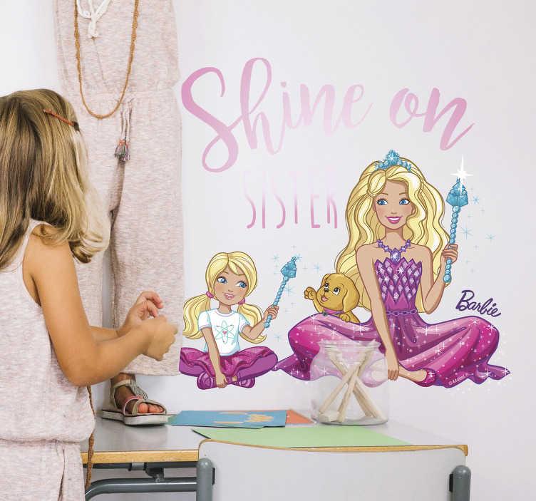 Autocolante de parede infantil Barbie