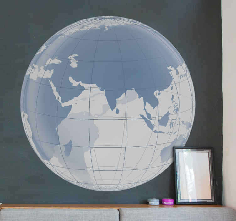 TenStickers. Indian Map Translucent Wall Sticker. Wall Stickers - Global view focused on Asia. Translucent vinyl base sticker. Ideal for decorating the bedroom.