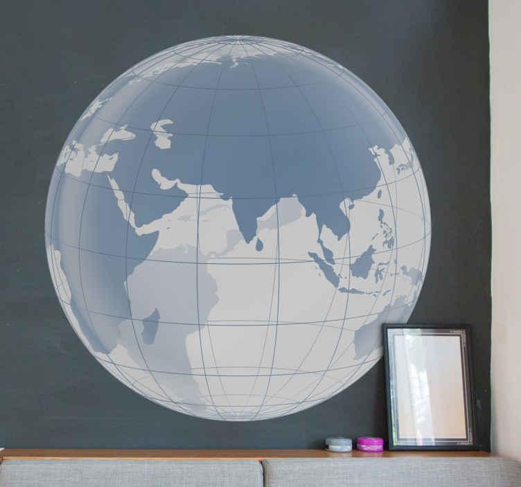 TenStickers. Sticker wereld bol transparant Indische oceaan. Een moderne, elegante muursticker van een transparante wereldbol. Verkrijgbaar in verschillende afmetingen. Ervaren ontwerpteam.